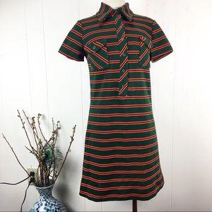 Vintage Jonathan Logan Green & Orange Mod Dress